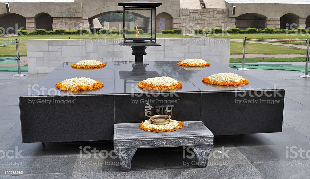 Rajghat Memorial to Mahatma Gandhi Delhi stock photo