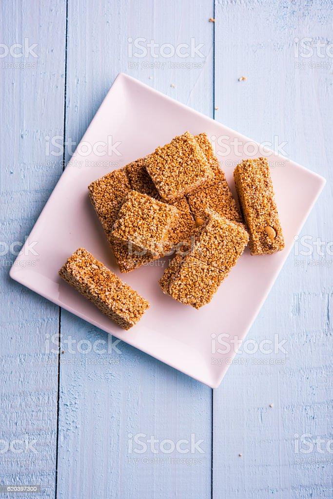 rajgira chikki or cake known as amarnath seed laddu/chikki /cake stock photo