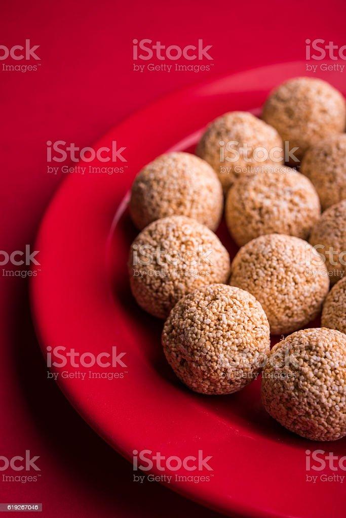rajgira laddu / amarnath seed laddu / cholai ke laddu stock photo