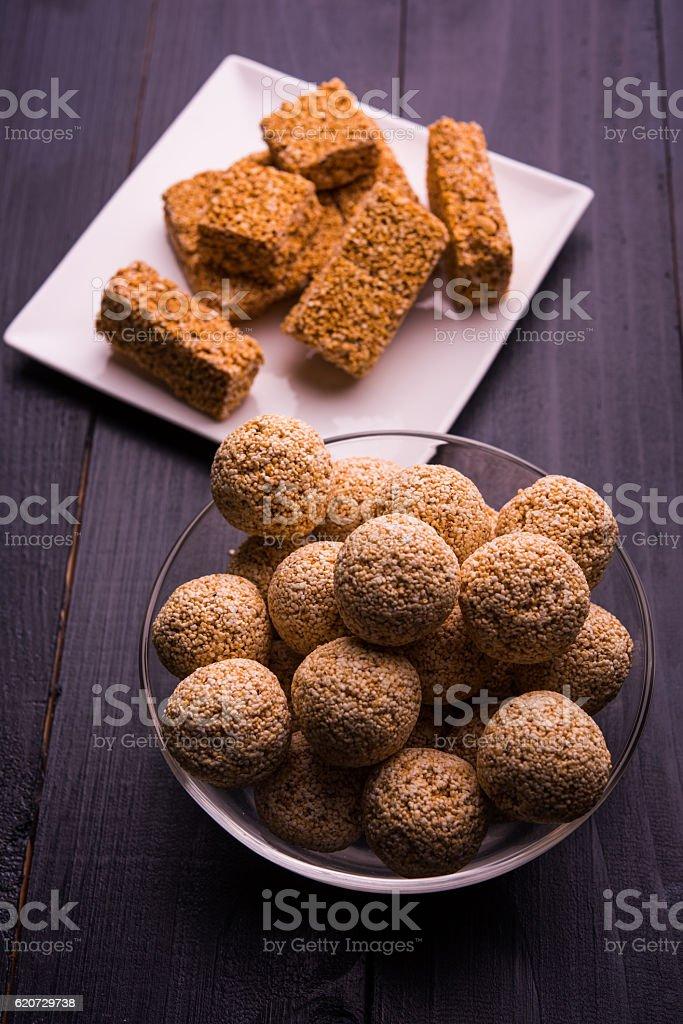 rajgira laddu / chikki known as amarnath laddu / chikki stock photo