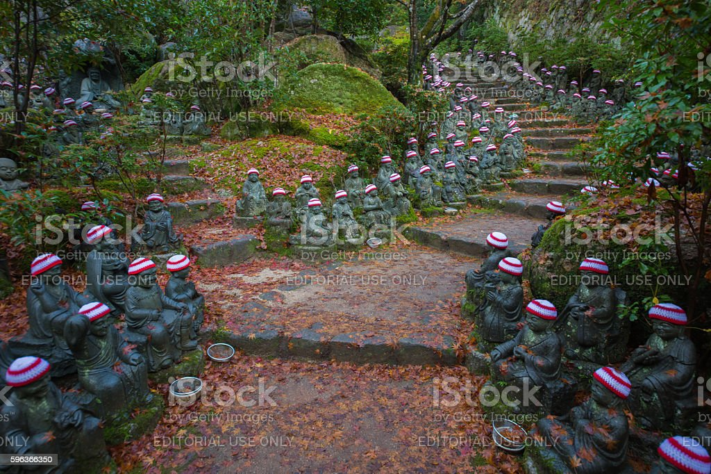 500 Rakan statues at Daishoin Temple stock photo