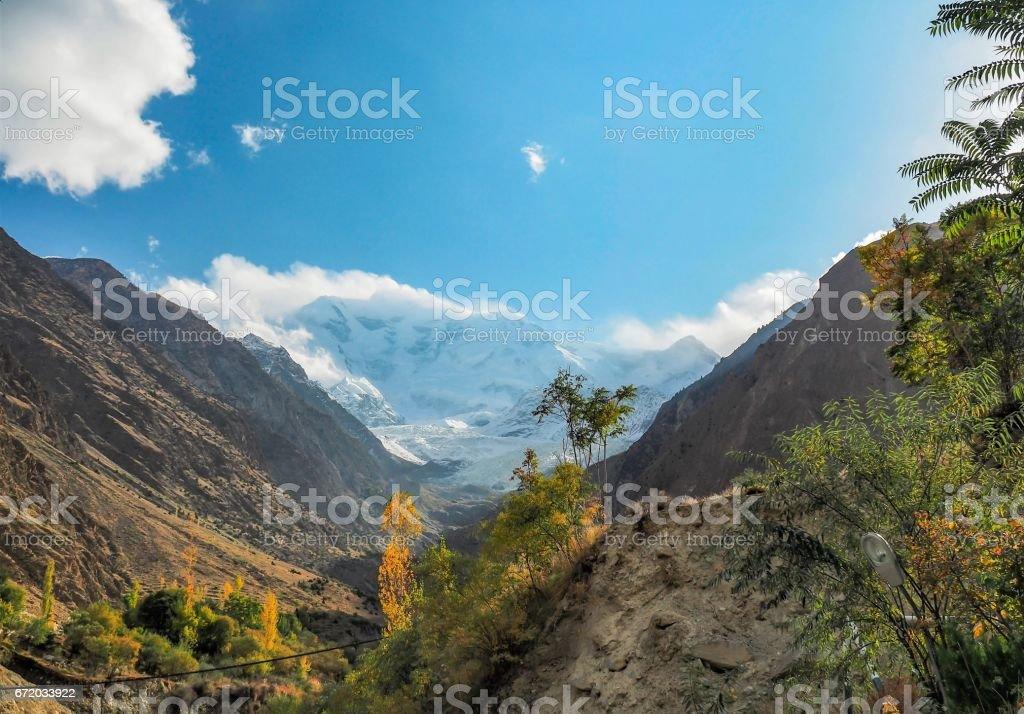 Rakaposhi Glacier Mountain Peak, Nagar, Gilgit–Baltistan, Pakistan stock photo