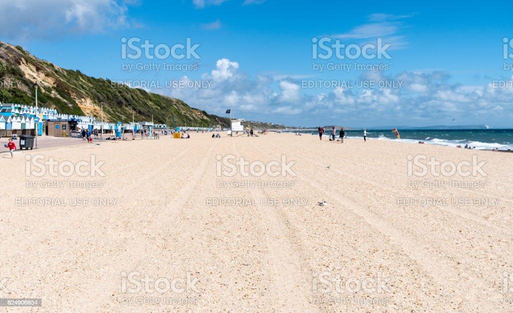 Raked lines on Bournemouth Beach stock photo