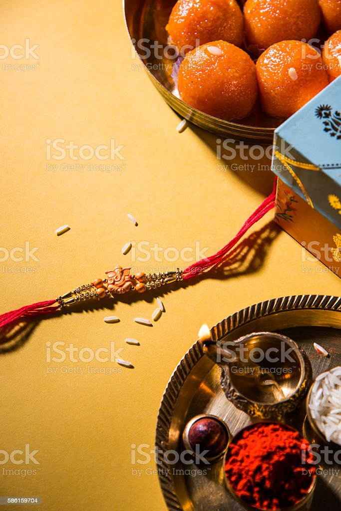 Rakhi or Raksha Bandhan Greeting card stock photo