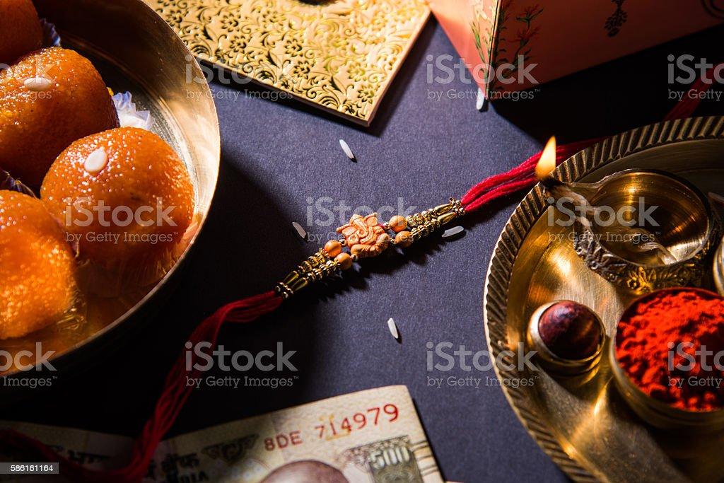 Rakhi or Raksha Bandhan Greeting card stock photo