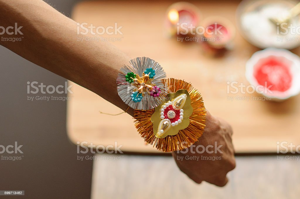 Rakhi tied on a brother's wrist stock photo