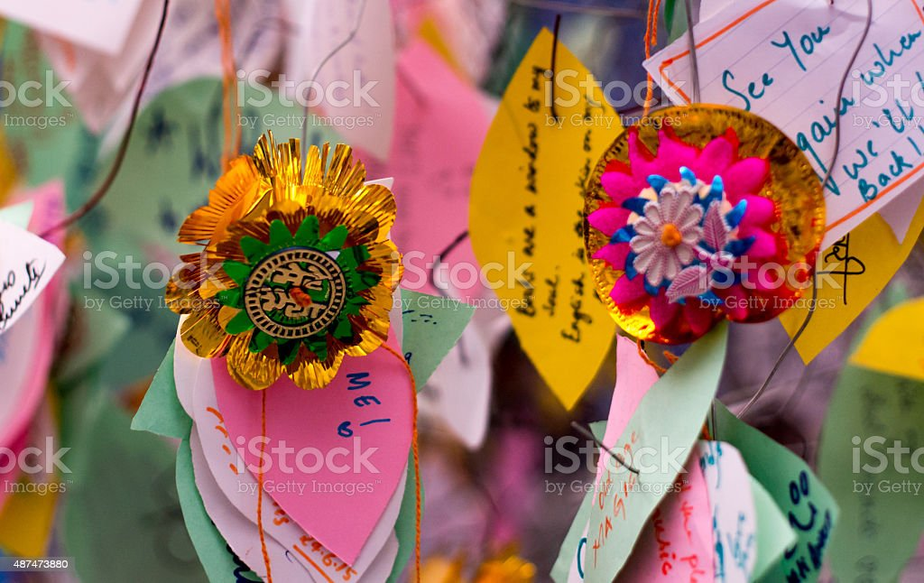 Rakhi with notes hanging in a shop stock photo