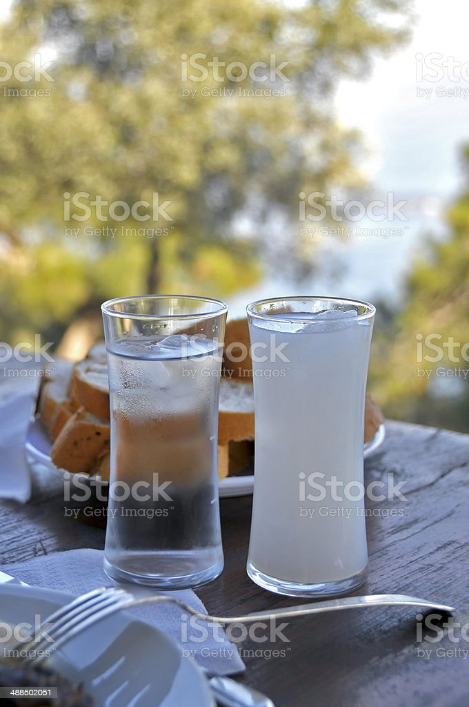 Raki and water on the restaurant table in Buyukada stock photo