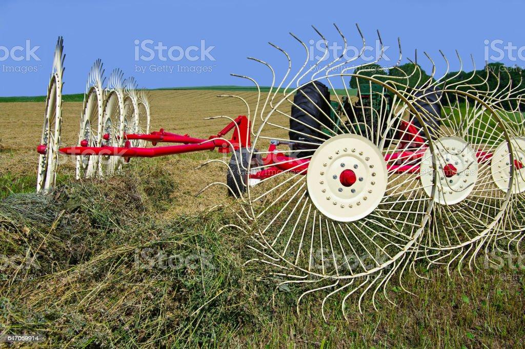Raking Hay stock photo