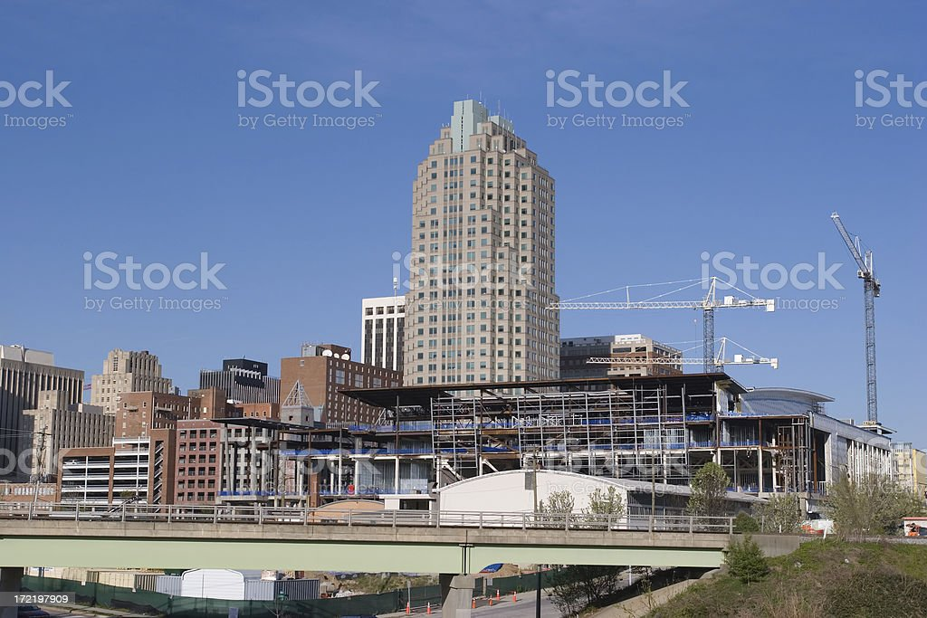 Raleigh Downtown Construction royalty-free stock photo