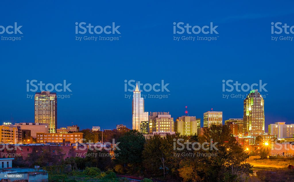 Raleigh downtown skyline at dusk, wide angle stock photo