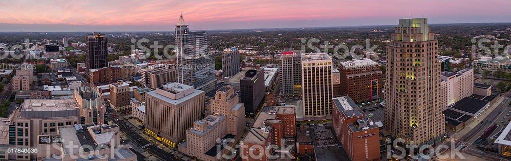 Raleigh, NC Panorama at dusk. stock photo