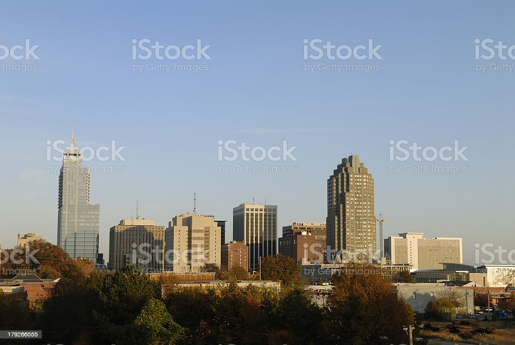 Raleigh, North Carolina Downtown Skyline in late afternoon stock photo