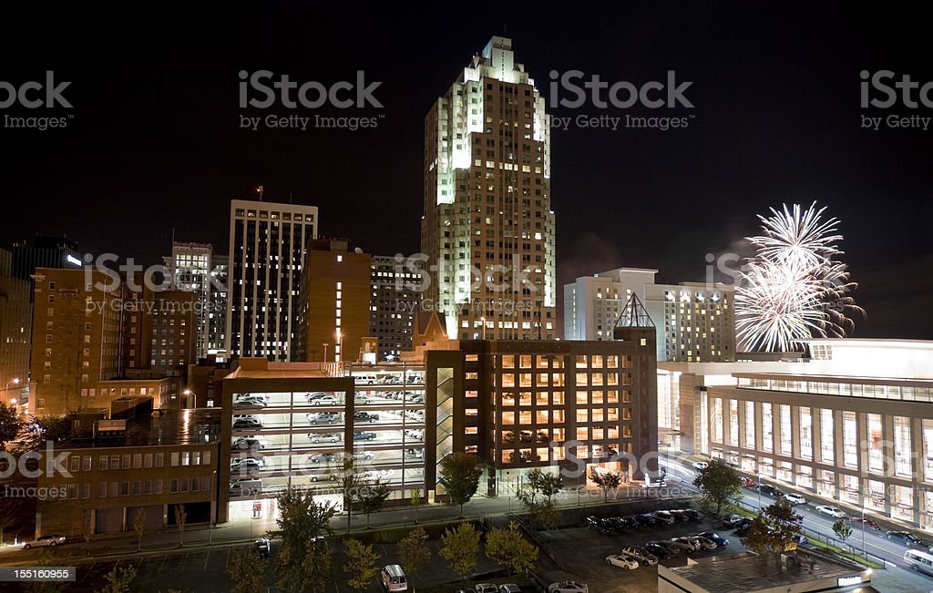 Raleigh North Carolina Downtown with Fireworks royalty-free stock photo