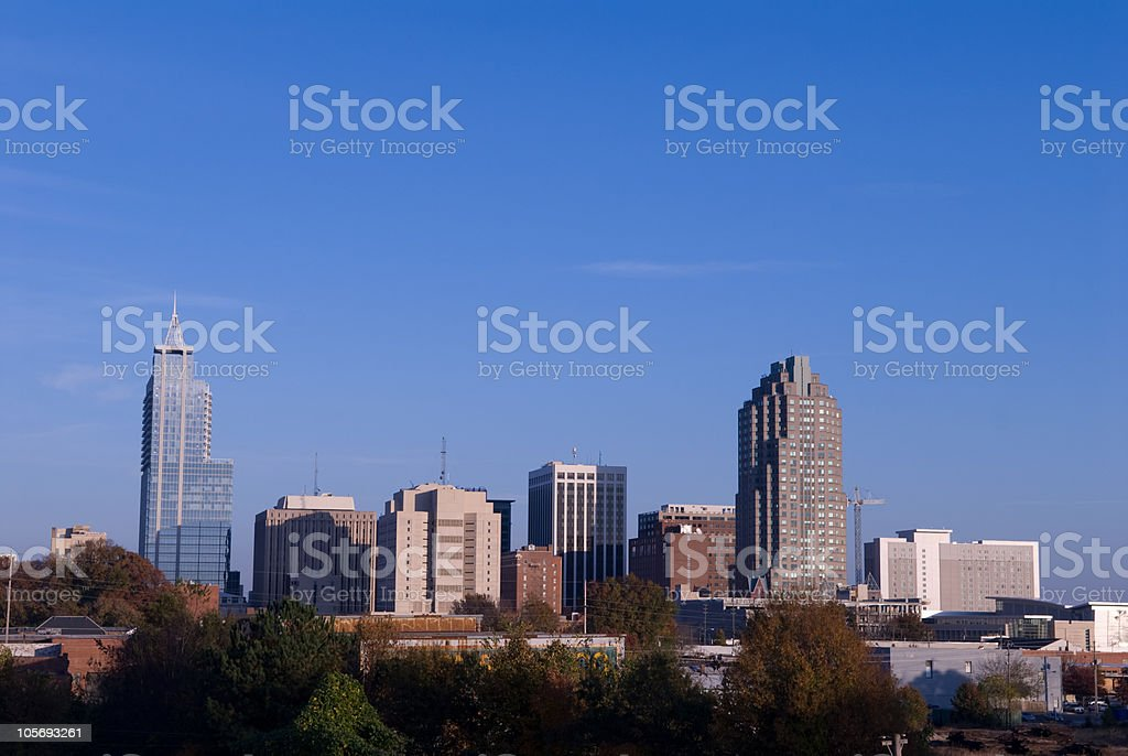Raleigh, North Carolina Skyline with Clear Blue Skies stock photo
