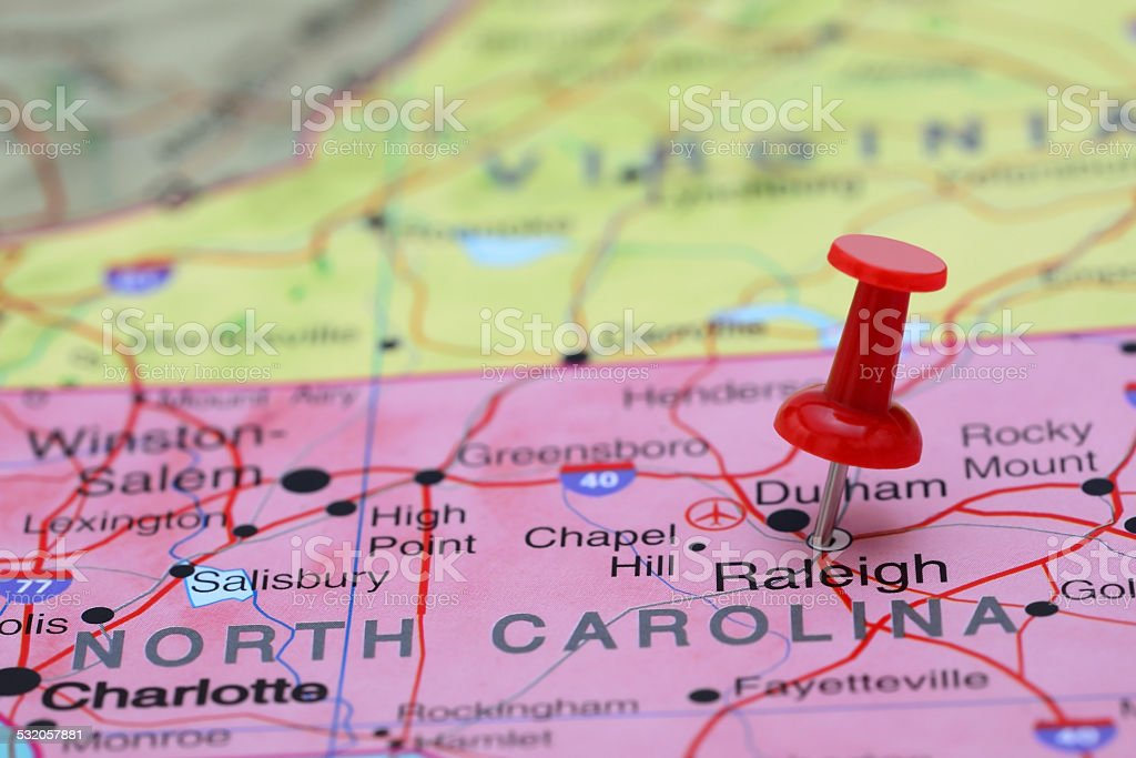 Raleigh pinned on a map of USA stock photo