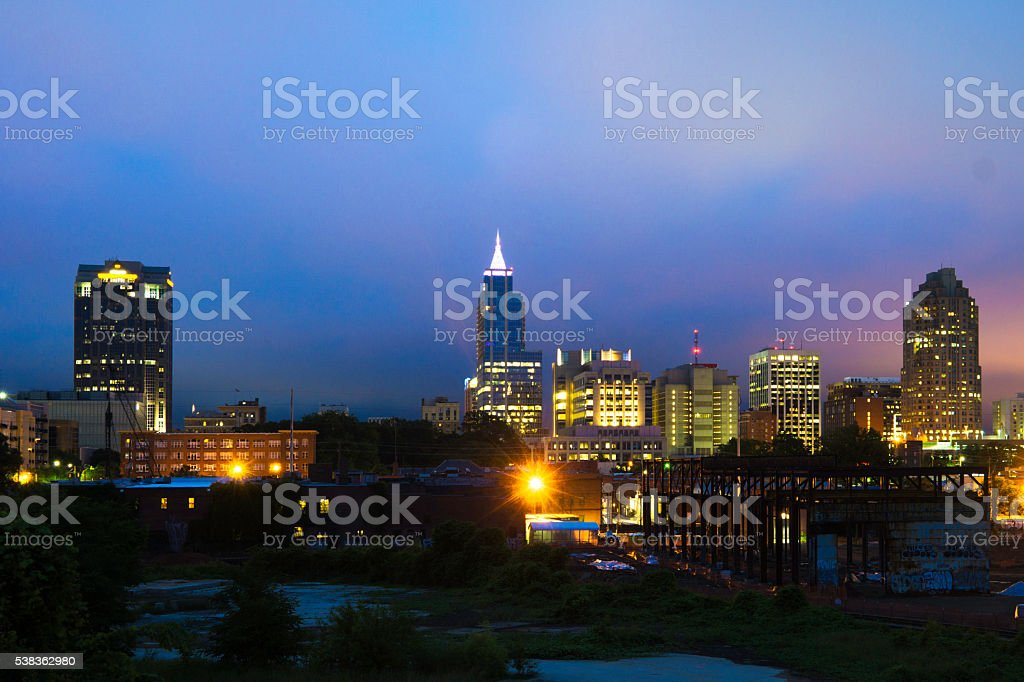 Raleigh Skyline at Blue Hour stock photo