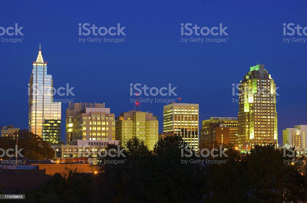 Raleigh skyline at dusk stock photo