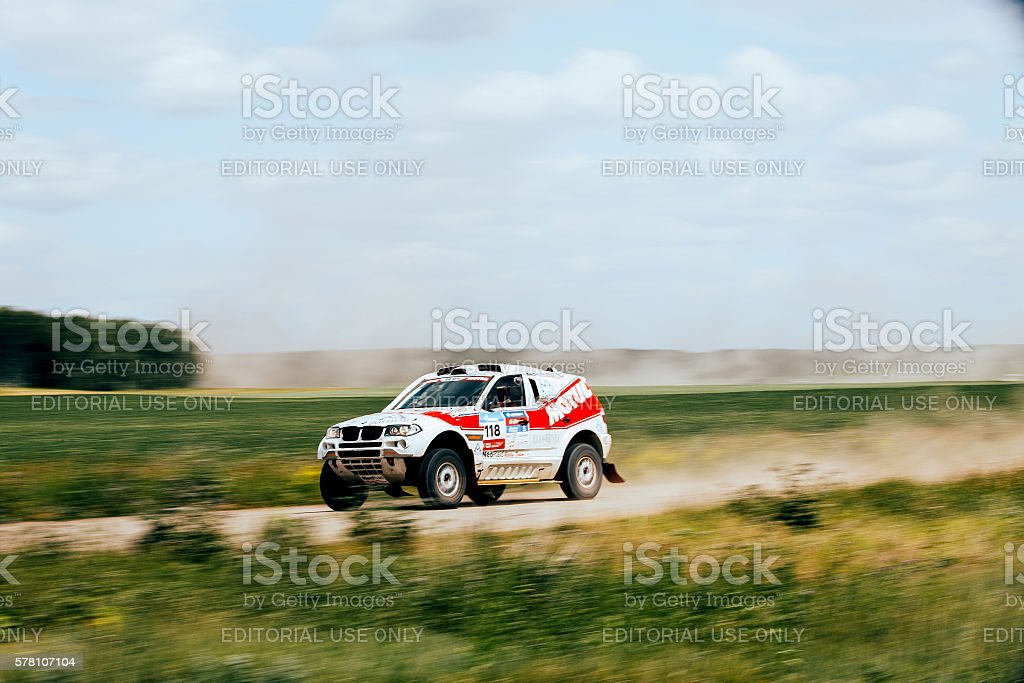 rally car rides at high speed on road royalty-free 스톡 사진