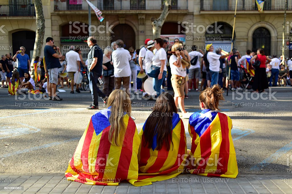 rally in support for the independence of Catalonia in Barcelona, stock photo