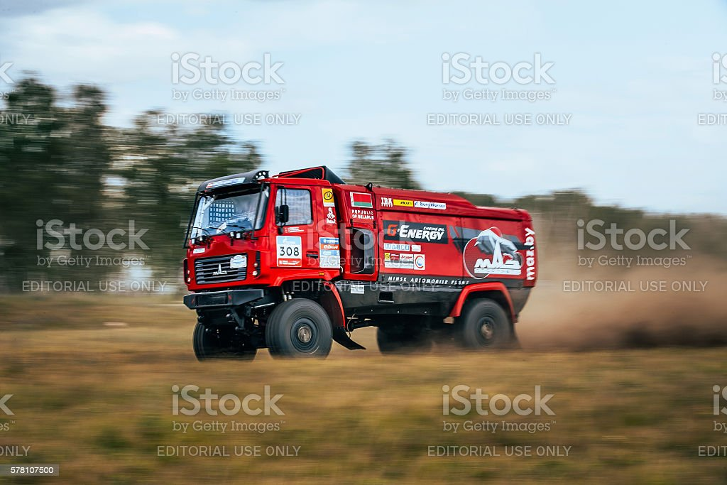 rally MAZ truck rides a dusty road royalty-free 스톡 사진