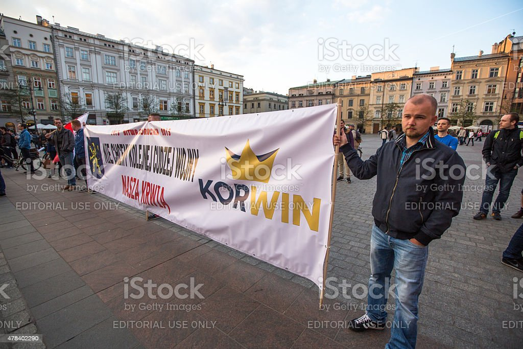 Rally of presidential candidate of Poland - Janusz Korwin-Mikke stock photo