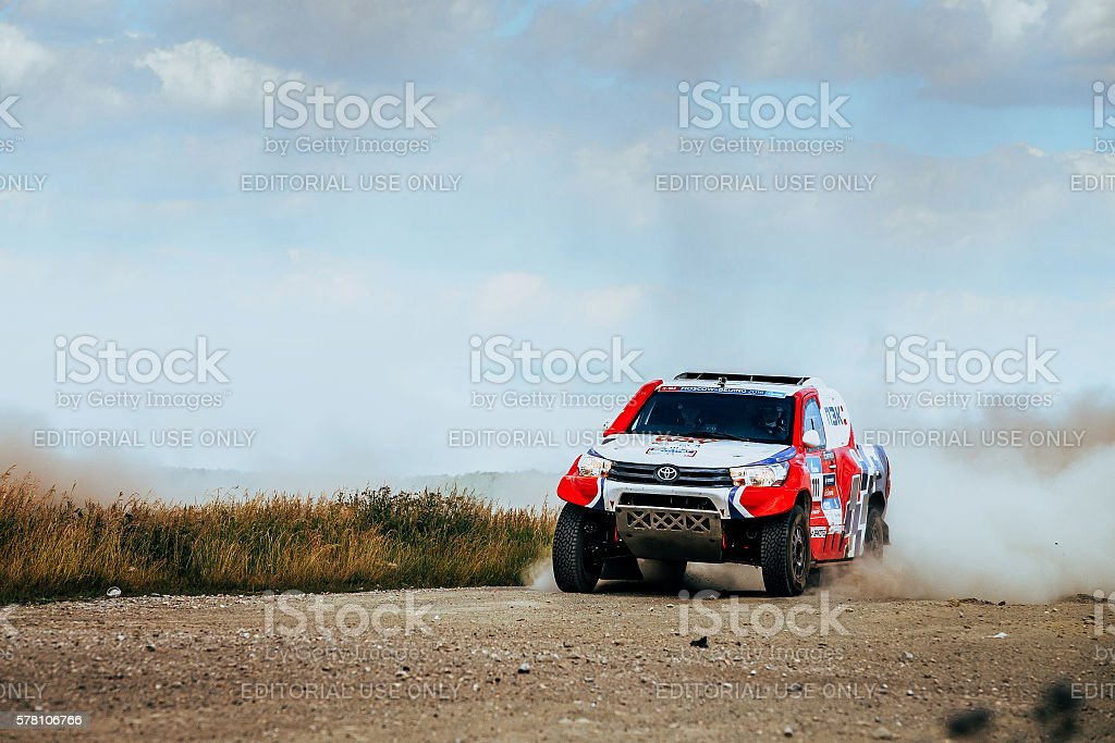 rally Toyota car rides on dusty road royalty-free 스톡 사진