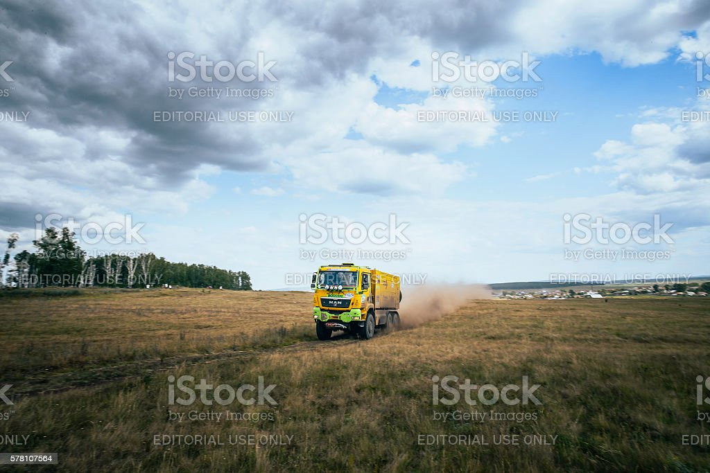 rally truck MAN rides a dusty road royalty-free 스톡 사진