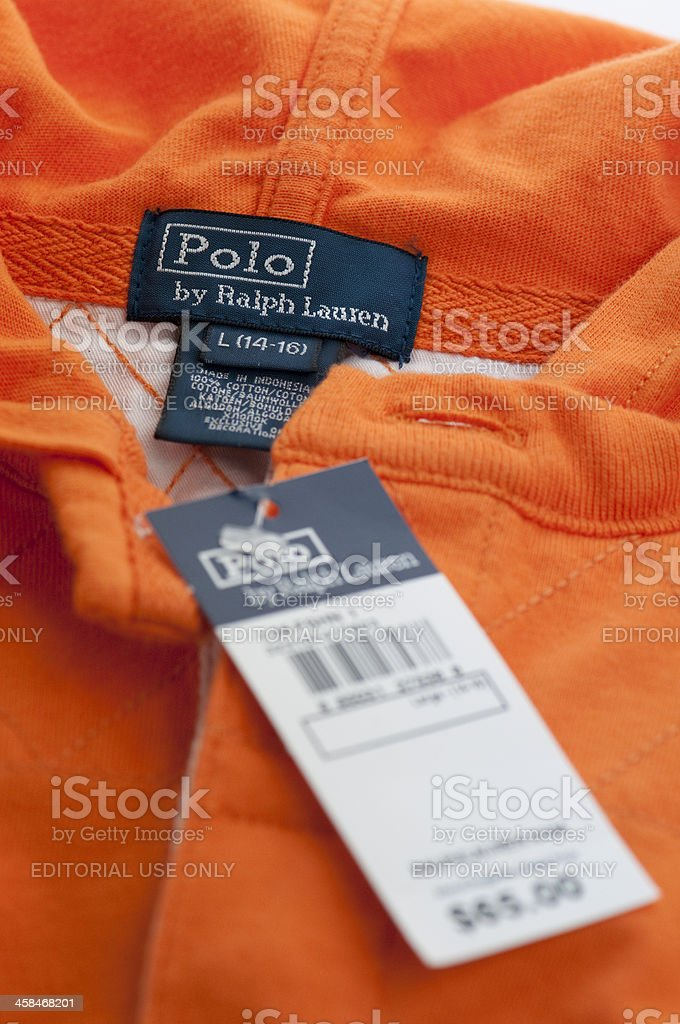 Ralph Lauren polo shirt with label and price tag stock photo