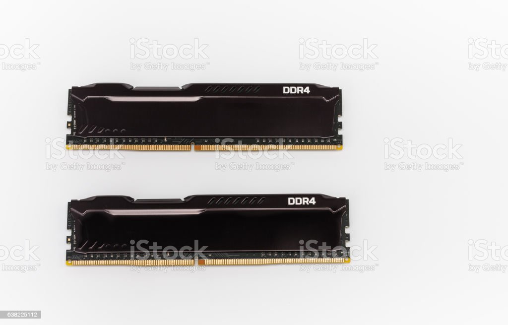 Ram DDR4 memory modules on white background stock photo
