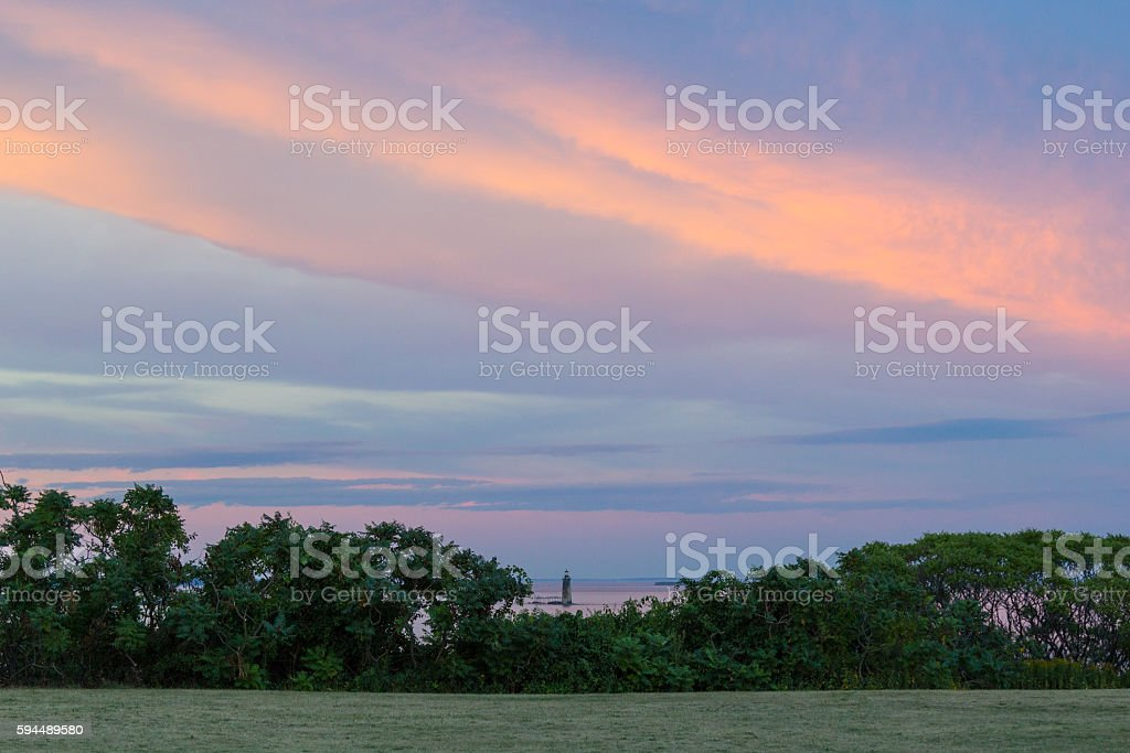 Ram Island Ledge Light Station at Sunset stock photo
