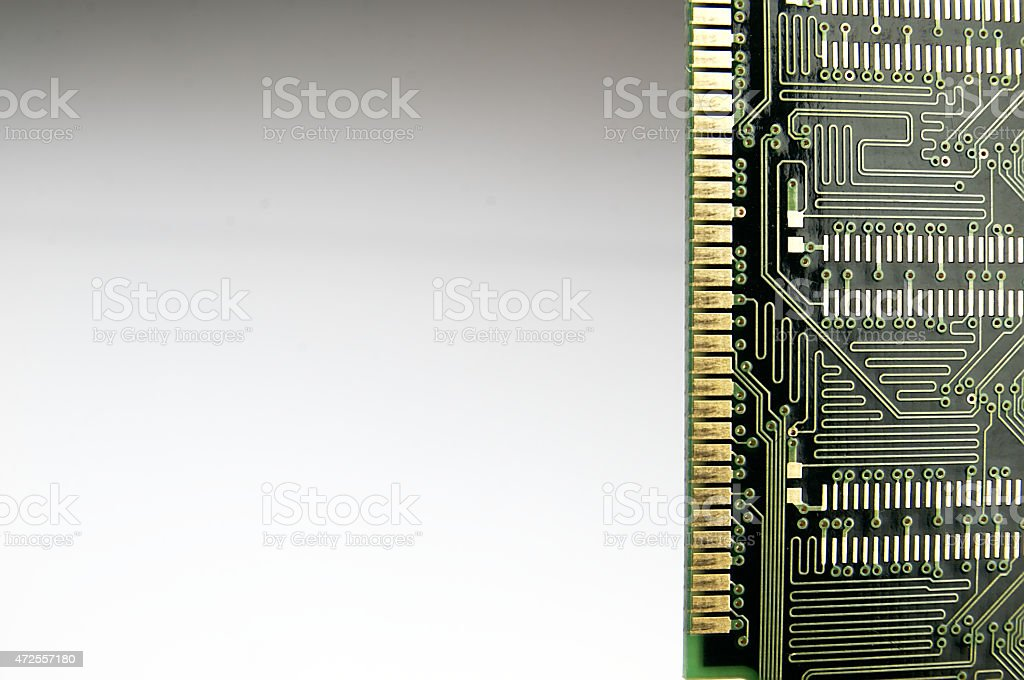 Ram memory seen from below. stock photo