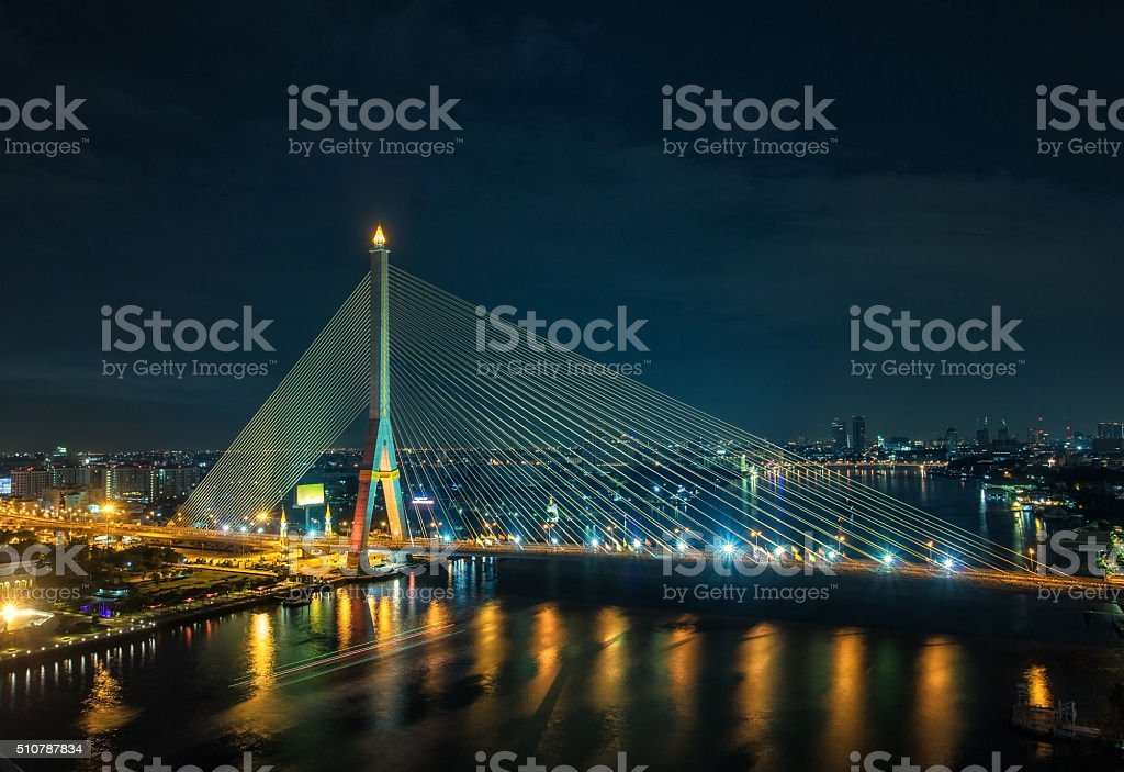 Rama 8 Bridge at night in Bangkok stock photo
