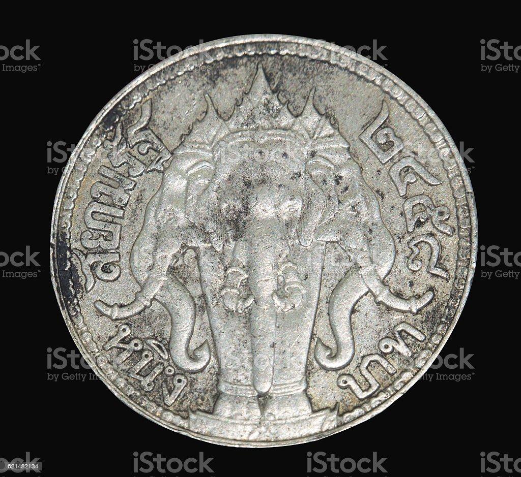 Rama IV coin Vajiravudh back isolated on black background, Thailand stock photo