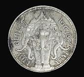 Rama IV coin Vajiravudh back isolated on black background, Thailand