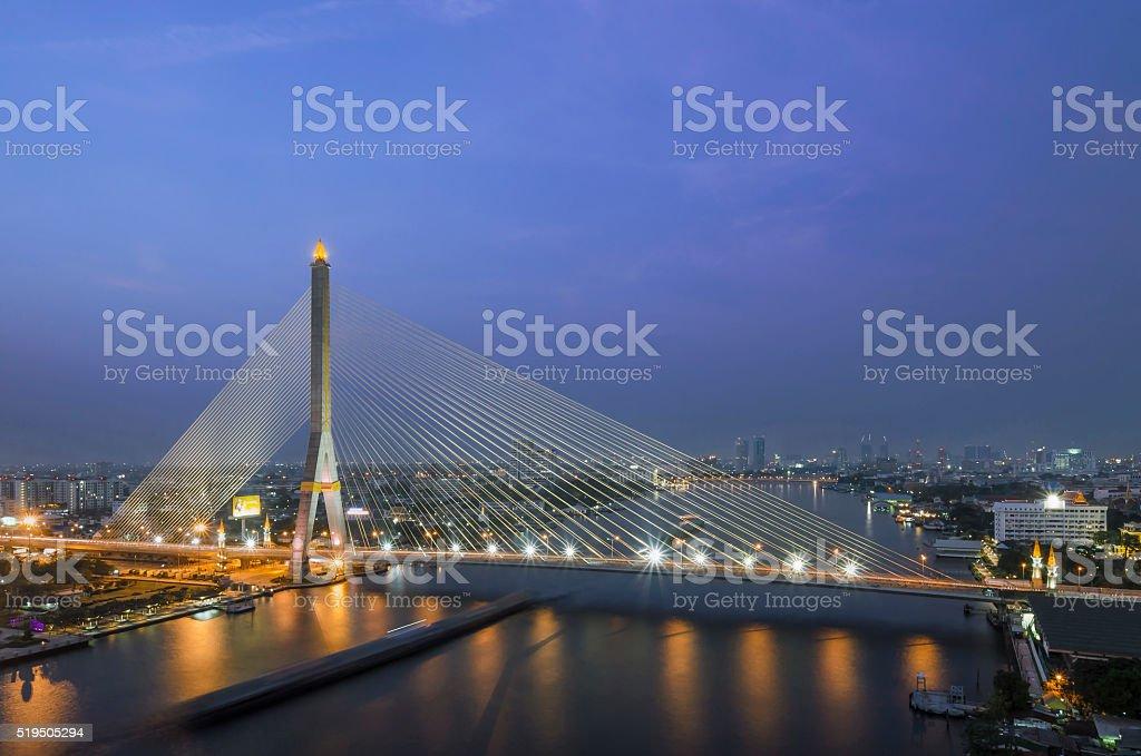 Rama VIII Bridge at night in Bangkok stock photo