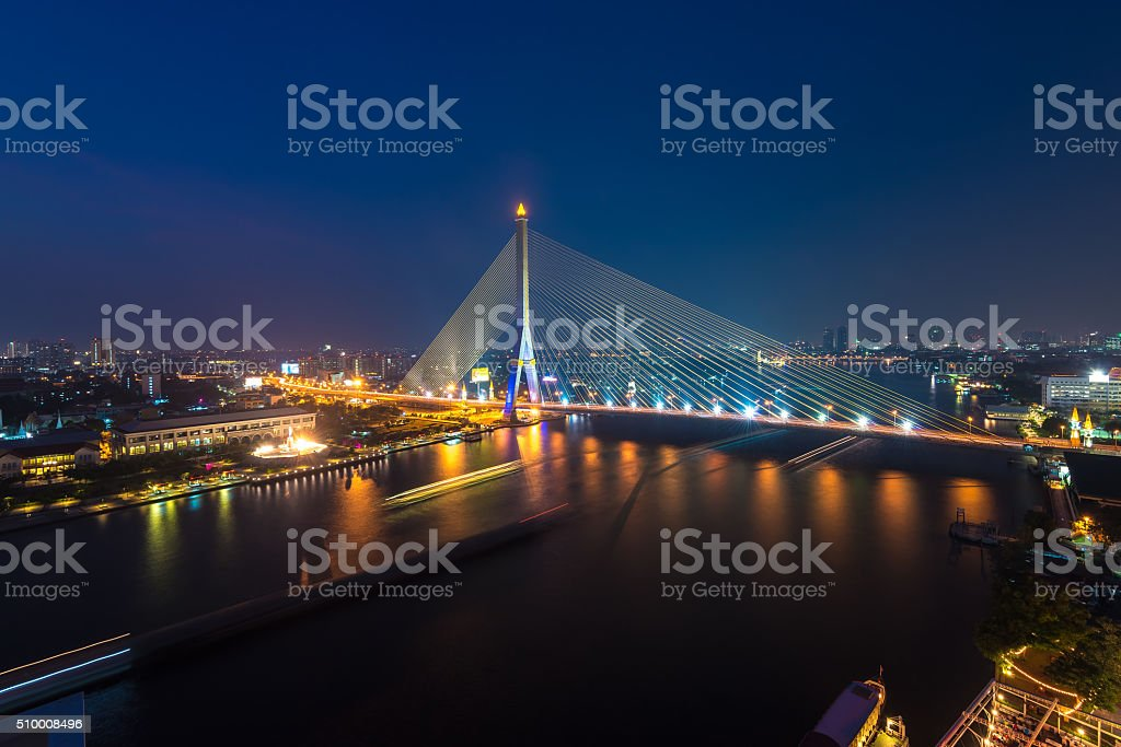 Rama VIII Bridge at night stock photo