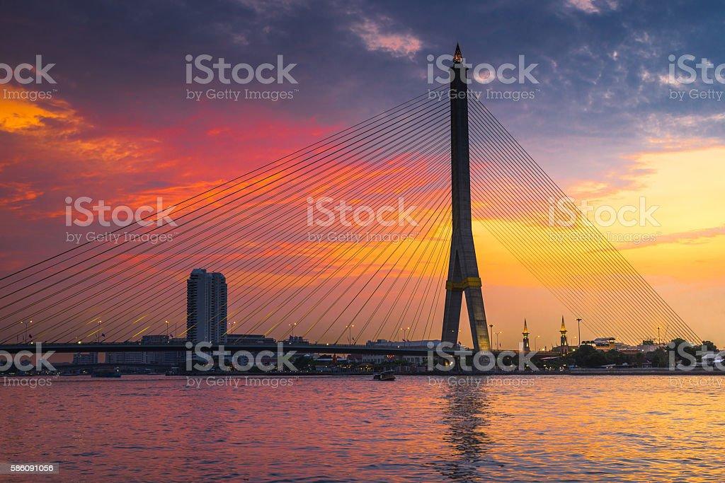 Rama VIII Bridge at twilight time,Bangkok stock photo