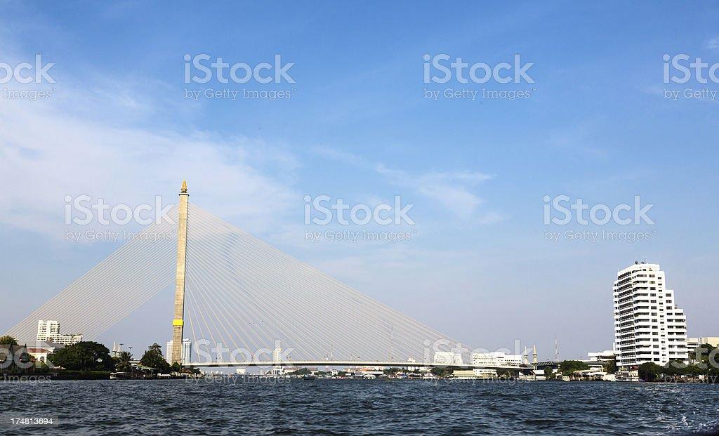 Rama VIII suspension bridge, Chao Praya River stock photo