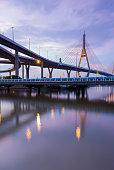 Rama9 Suspension bridge reflection lights