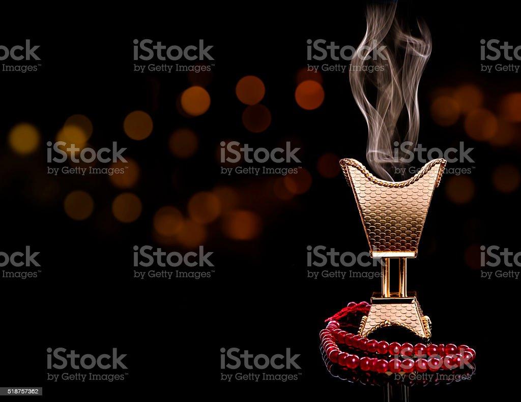 Ramadan censer with rosary stock photo