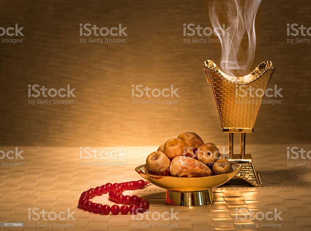 Ramadan dates with censer stock photo