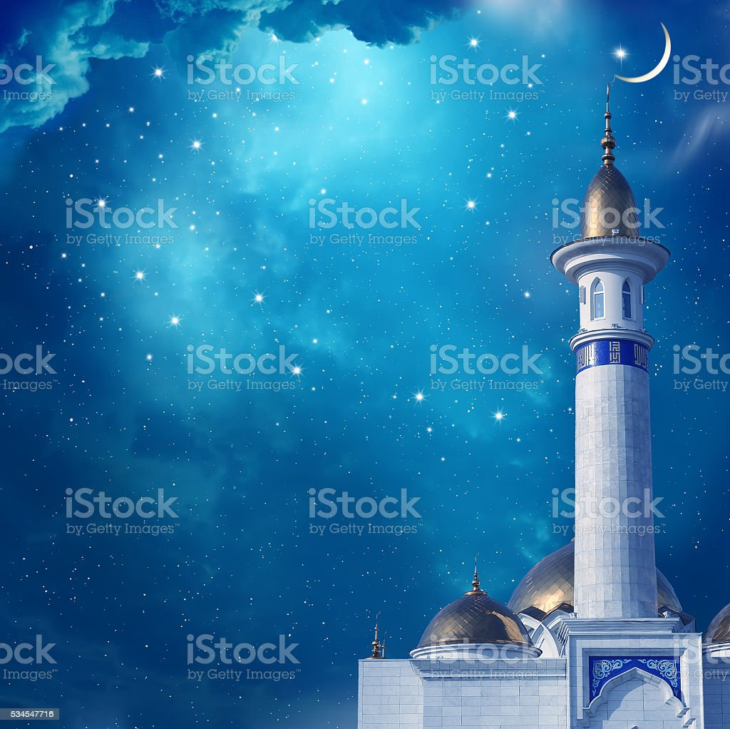 Ramadan Kareem background with mosque stock photo