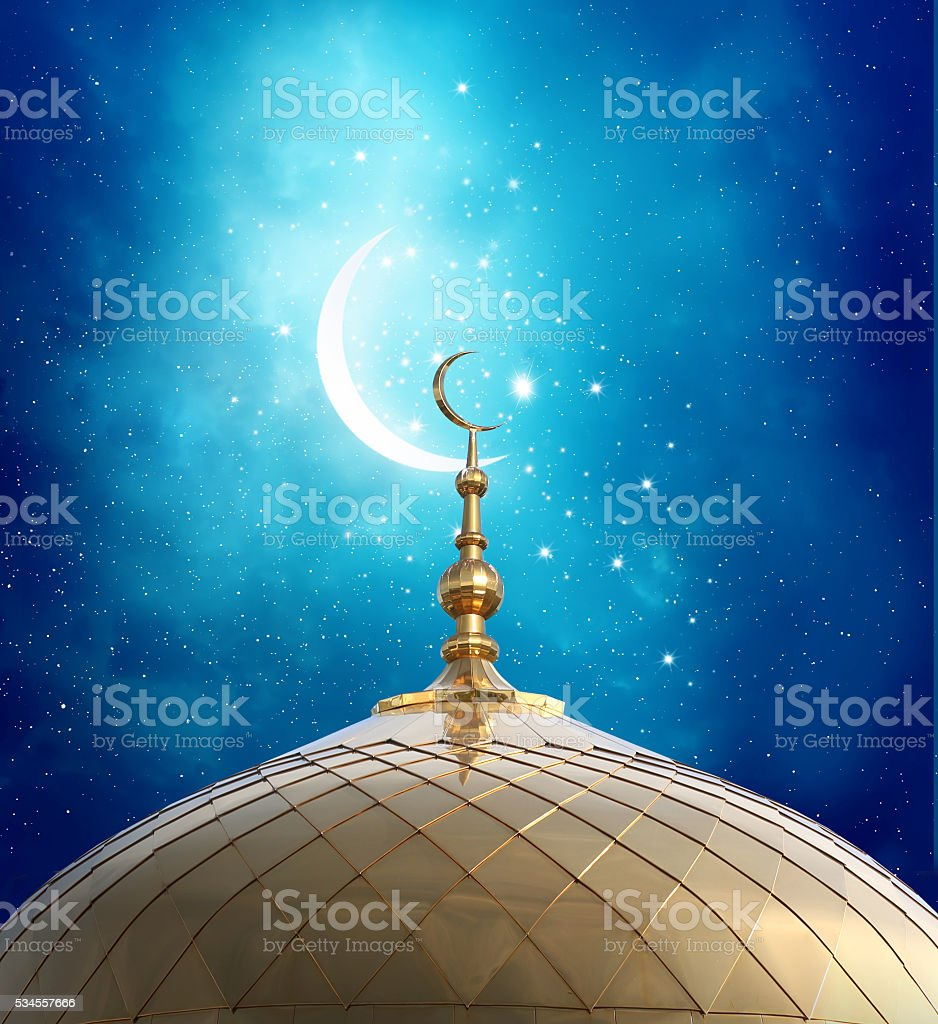 Mosque background for ramadan kareem stock photography image - Ramadan Kareem Background Crescent Moon At A Top Of A Mosque Royalty Free Stock