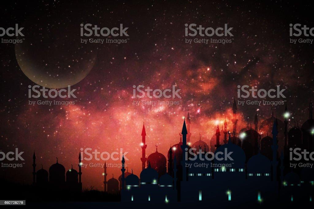 Ramadan Kareem season greeting with mosque and shiny star night stock photo