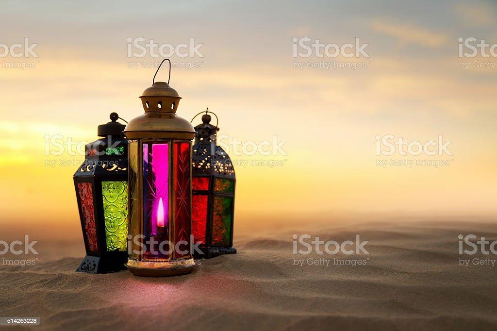 Ramadan Lantern on desert Sand dunes royalty-free stock photo