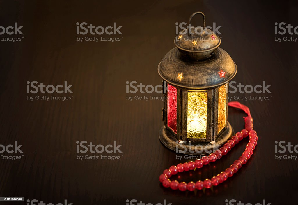 Ramadan lantern with rosary stock photo