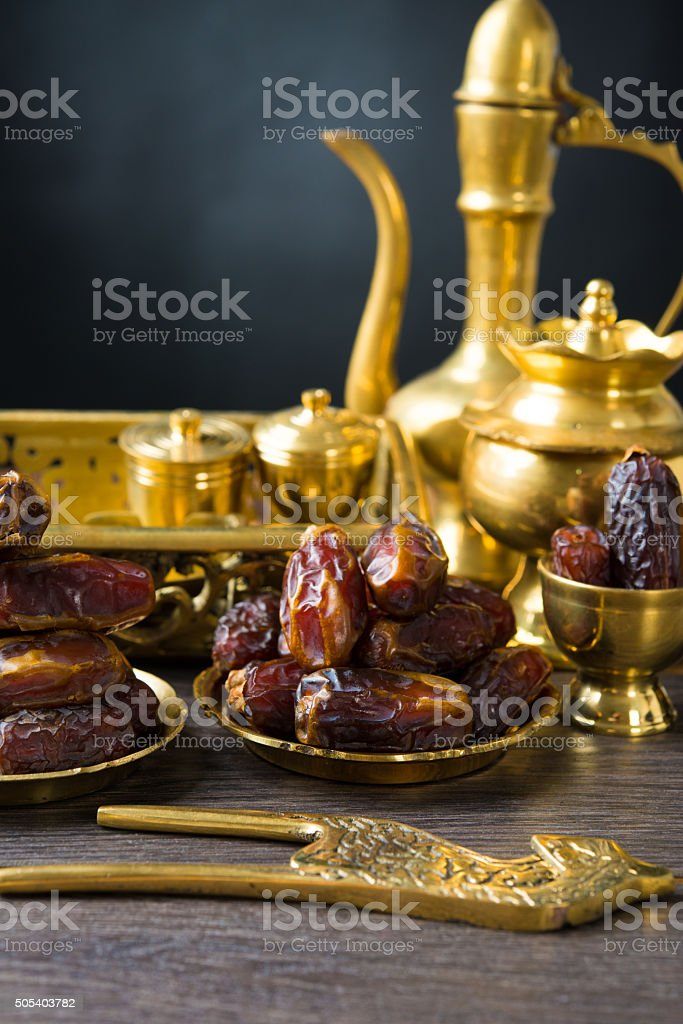 ramadan plam dates, eaten before aidilfitri festival stock photo