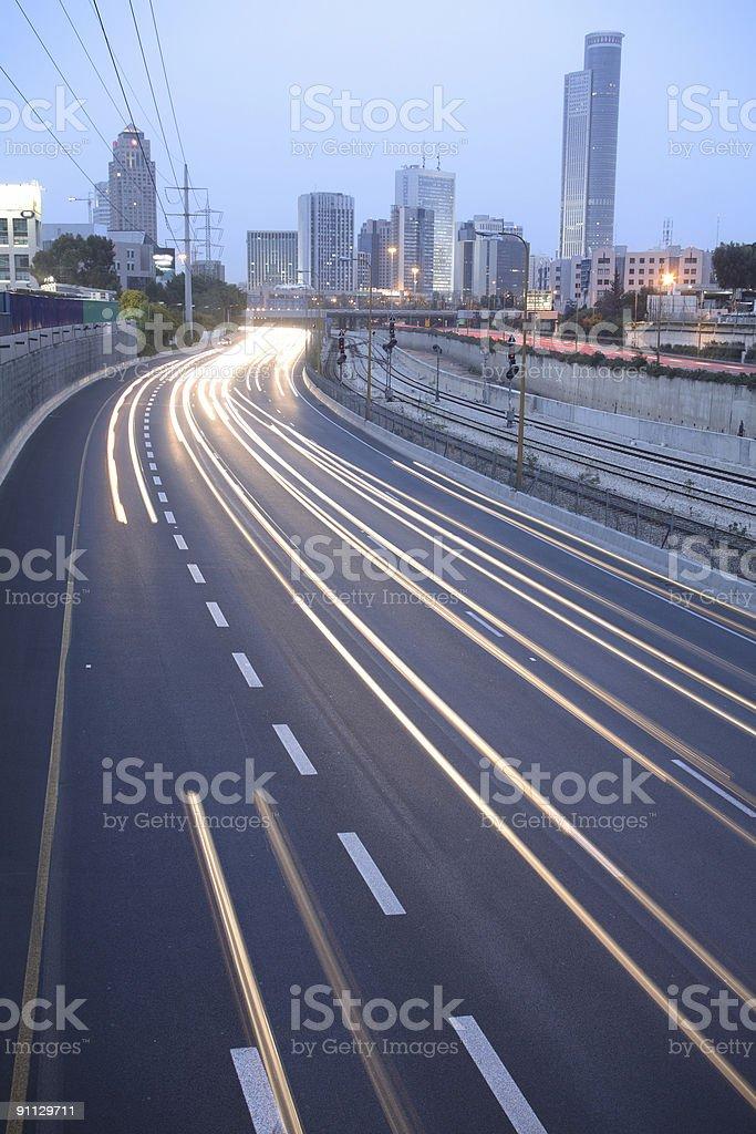 Ramat Gan city & Ayalon freeway stock photo
