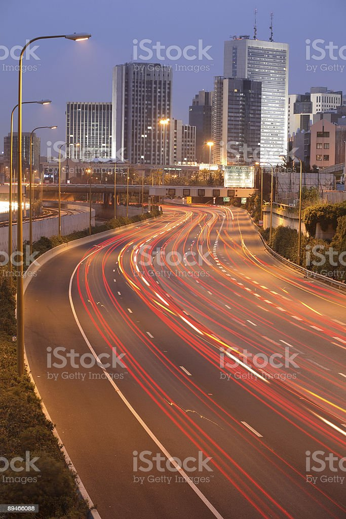 Ramat Gan city, Diamond exchange center & Ayalon freeway stock photo